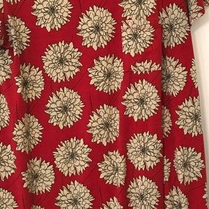LuLaRoe Carly 3XL Red with Cream Flowers